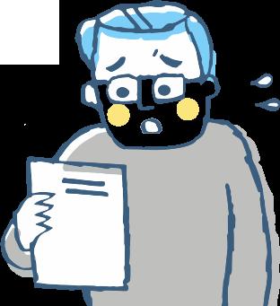 健康診断の数値を見て不安なる男性のイラスト